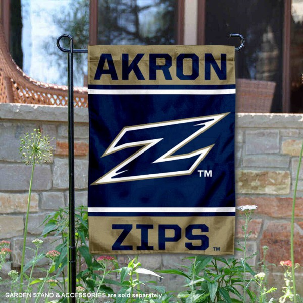 Akron Zips Garden Flag is 13x18 inches in size, is made of 2-layer polyester, screen printed logos and lettering. Available with Same Day Express Shipping, Our Akron Zips Garden Flag is officially licensed and approved by the NCAA.