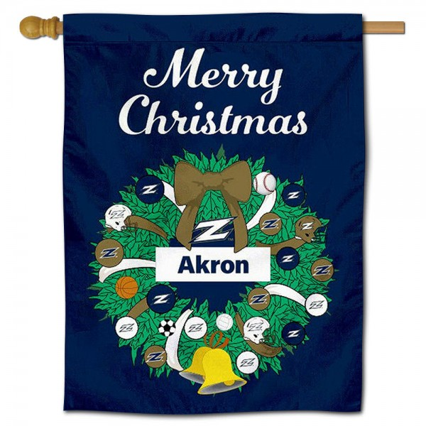 Akron Zips Happy Holidays Banner Flag measures 30x40 inches, is made of poly, has a top hanging sleeve, and offers dye sublimated Akron Zips logos. This Decorative Akron Zips Happy Holidays Banner Flag is officially licensed by the NCAA.