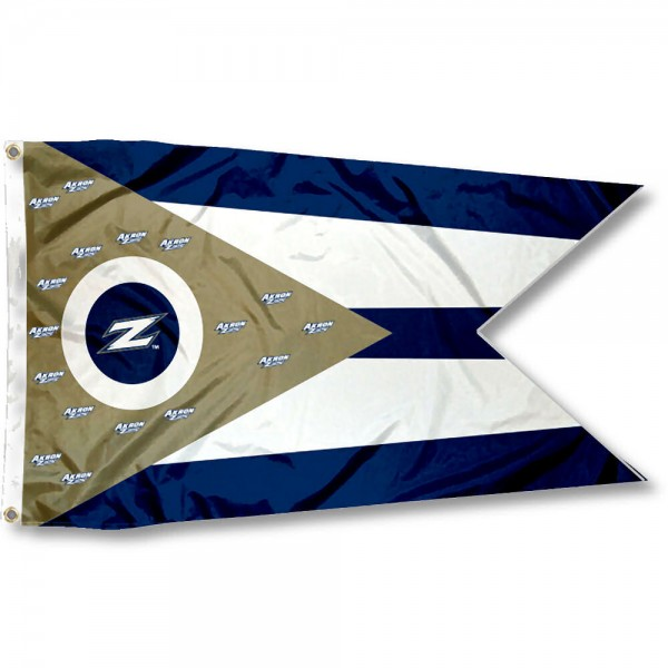 Akron Zips State of Ohio Flag measures 3x5 feet, is made of 100% polyester, offers quadruple stitched flyends, has two metal grommets, and offers screen printed NCAA team logos and insignias. Our Akron Zips State of Ohio Flag is officially licensed by the selected university and NCAA.