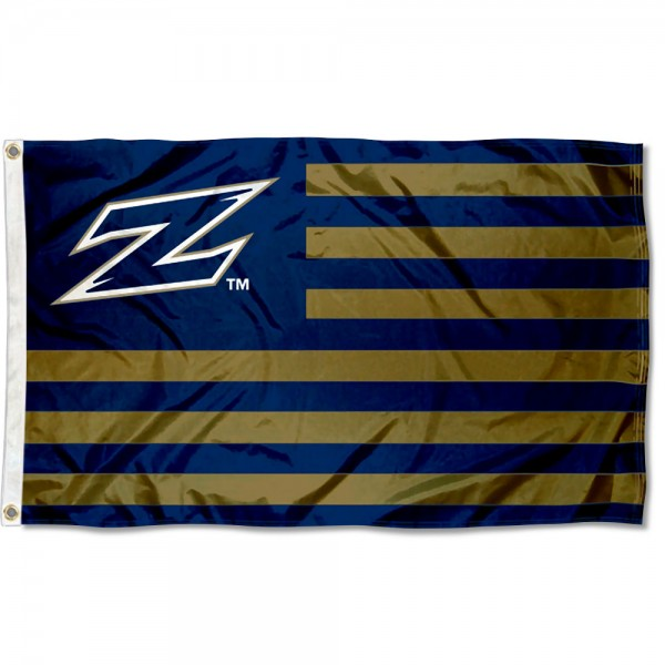 Akron Zips Stripes Flag measures 3'x5', is made of polyester, offers double stitched flyends for durability, has two metal grommets, and is viewable from both sides with a reverse image on the opposite side. Our Akron Zips Stripes Flag is officially licensed by the selected school university and the NCAA.