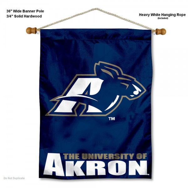 "Akron Zips Wall Banner is constructed of polyester material, measures a large 30""x40"", offers screen printed athletic logos, and includes a sturdy 3/4"" diameter and 36"" wide banner pole and hanging cord. Our Akron Zips Wall Banner is Officially Licensed by the selected college and NCAA."