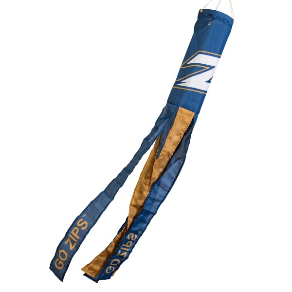 "Akron Zips Windsock measures 40"" in length by 5"" in width, is made of 100% polyester, offers screen printed NCAA team logos, team names and insignias, has 6 alternative colored streamers and tails, includes a double stringed bridle and hanging swivel clip, and our Akron Zips Windsock is authentic, licensed, and approved by the selected university or team."