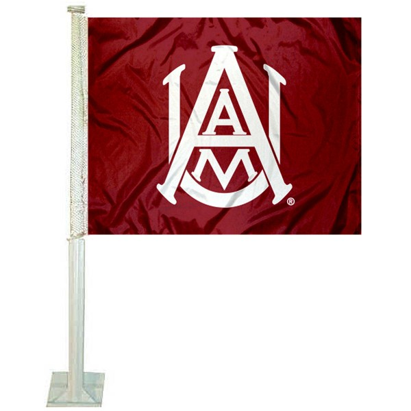 Alabama A&M Bulldogs Logo Car Flag measures 12x15 inches, is constructed of sturdy 2 ply polyester, and has screen printed school logos which are readable and viewable correctly on both sides. Alabama A&M Bulldogs Logo Car Flag is officially licensed by the NCAA and selected university.