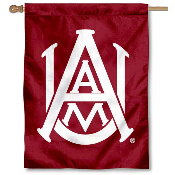 Alabama A&M University Banner Flag is a vertical house flag which measures 30x40 inches, is made of 2 ply 100% polyester, offers dye sublimated NCAA team insignias, and has a top pole sleeve to hang vertically. Our Alabama A&M University Banner Flag is officially licensed by the selected university and the NCAA.
