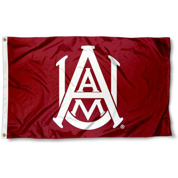 Alabama A&M University Flag measures 3'x5', is made of 100% poly, has quadruple stitched sewing, two metal grommets, and has double sided AAMU Bulldogs logos. Our Alabama A&M University Flag is officially licensed by the selected university and the NCAA.