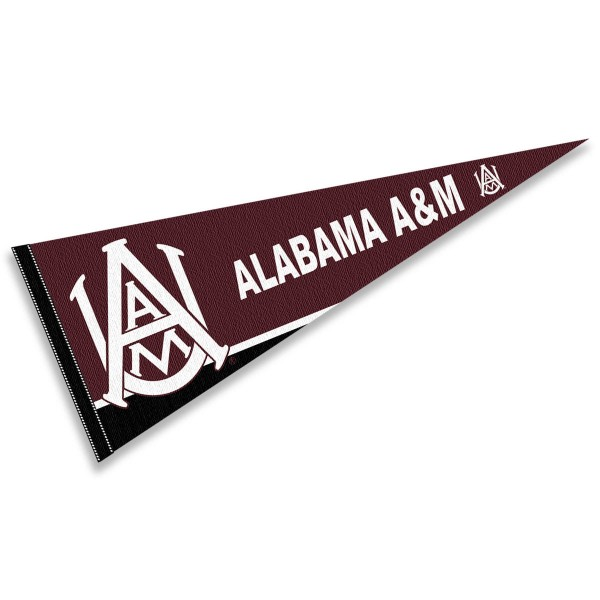 Alabama A&M University Pennant consists of our full size sports pennant which measures 12x30 inches, is constructed of felt, is single sided imprinted, and offers a pennant sleeve for insertion of a pennant stick, if desired. This Alabama A&M University Felt Pennant is officially licensed by the selected university and the NCAA.
