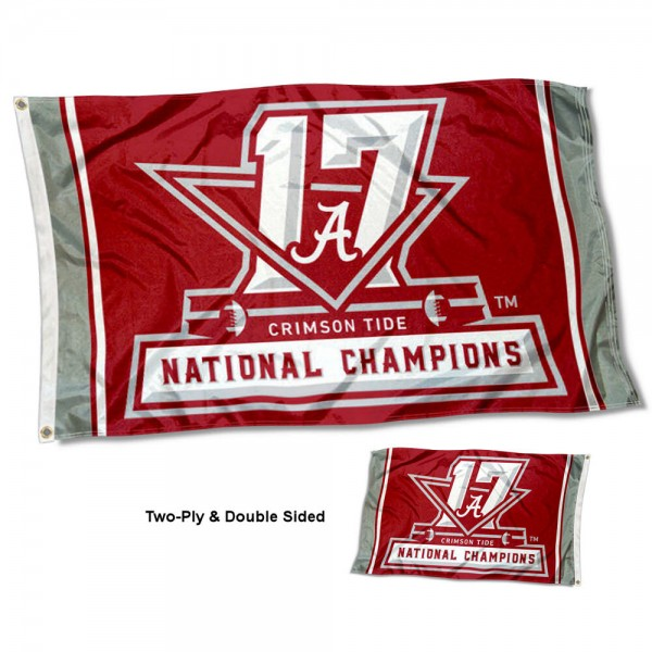 Alabama Crimson Tide 17 Time Football Champions Double Sided Flag measures 3'x5', is made of 2 layer 100% polyester, has quadruple stitched flyends for durability, and is readable correctly on both sides. Our Alabama Crimson Tide 17 Time Football Champions Double Sided Flag is officially licensed by the university, school, and the NCAA.