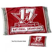 Alabama Crimson Tide 17 Time Football Champions Double Sided Flag