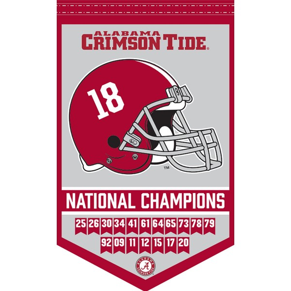 Alabama Crimson Tide 18 Time Football National Champions Banner consists of our sports dynasty year banner which measures 15x24 inches, is constructed of rigid felt, is single sided imprinted, and offers a pennant sleeve for insertion of a pennant stick, if desired. This sports banner is a unique collectible and keepsake of the legacy game and is Officially Licensed and University, School, and College Approved.