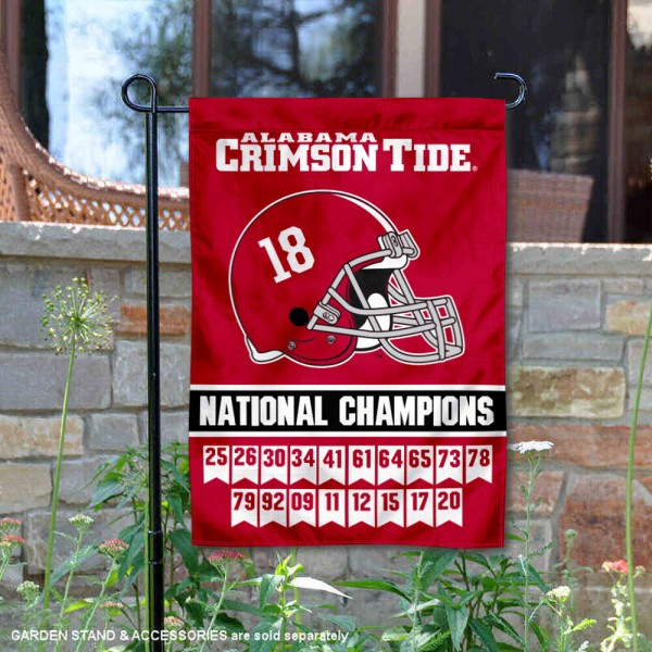 Alabama Crimson Tide 18 Time Football National Champions Garden Flag is 13x18 inches in size, is made of 2-layer polyester, screen printed university athletic logos and lettering, and is readable and viewable correctly on both sides. Available same day shipping, our Alabama Crimson Tide 18 Time Football National Champions Garden Flag is officially licensed and approved by the university and the NCAA.