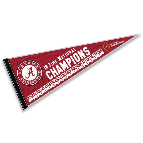 Alabama Crimson Tide 18 Time National Football Champions Pennant is 12x30 inches, is made of wool and felt, has a pennant stick sleeve, and the Alabama Crimson Tide logos are single sided screen printed. Our Alabama Crimson Tide 18 Time National Football Champions Pennant is licensed by the NCAA and the university.