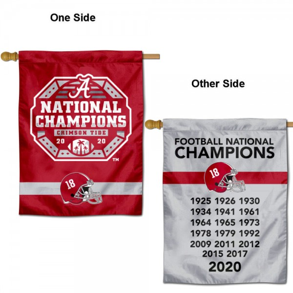 Alabama Crimson Tide 18x Time Dynasty National Champions Double Sided House Flag is a vertical house flag which measures 30x40 inches, is made of 2 ply 100% polyester, offers screen printed NCAA team insignias, and has a top pole sleeve to hang vertically. Our Alabama Crimson Tide 18x Time Dynasty National Champions Double Sided House Flag is officially licensed by the selected university and the NCAA.