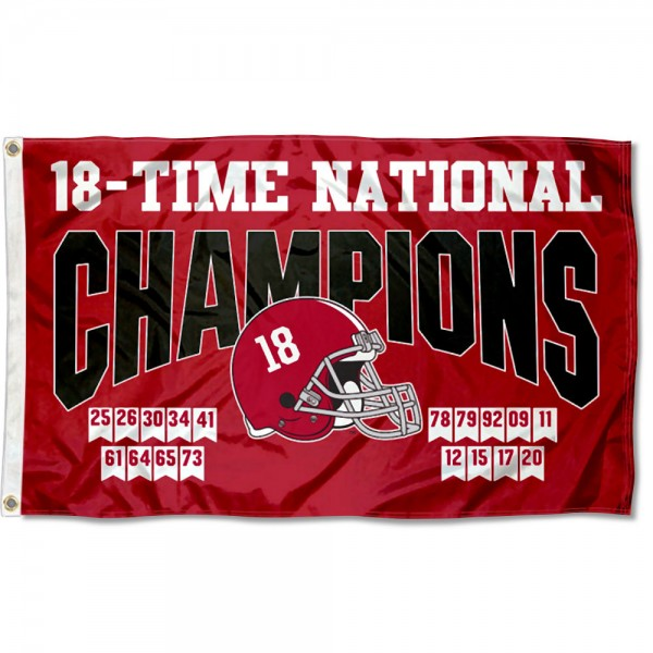 Alabama Crimson Tide 2020 18 Time College Football Champions Flag measures 3x5 feet, is made of 100% polyester, offers quadruple stitched flyends, has two metal grommets, and offers screen printed NCAA team logos and insignias. Our Alabama Crimson Tide 2020 18 Time College Football Champions Flag is officially licensed by the selected university and NCAA.