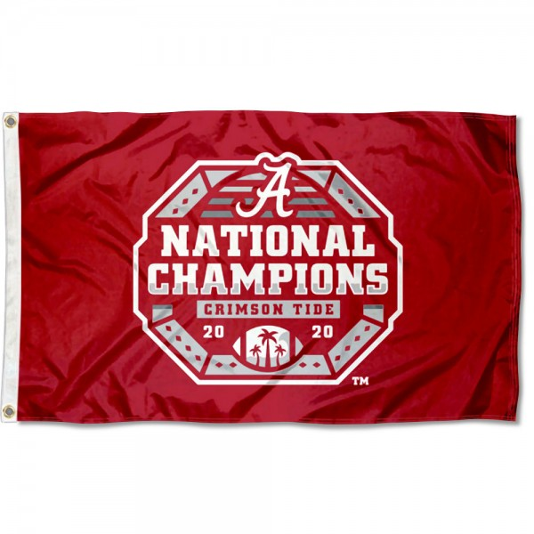Alabama Crimson Tide 2020 CFP National Championship Game Champs Flag measures 3x5 feet, is made of 100% polyester, offers quadruple stitched flyends, has two metal grommets, and offers screen printed NCAA team logos and insignias. Our Alabama Crimson Tide 2020 CFP National Championship Game Champs Flag is officially licensed by the selected university and NCAA.