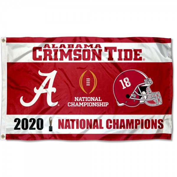 Alabama Crimson Tide 2020 College Football Champions Large Flag measures 3x5 feet, is made of 100% polyester, offers quadruple stitched flyends, has two metal grommets, and offers screen printed NCAA team logos and insignias. Our Alabama Crimson Tide 2020 College Football Champions Large Flag is officially licensed by the selected university and NCAA.