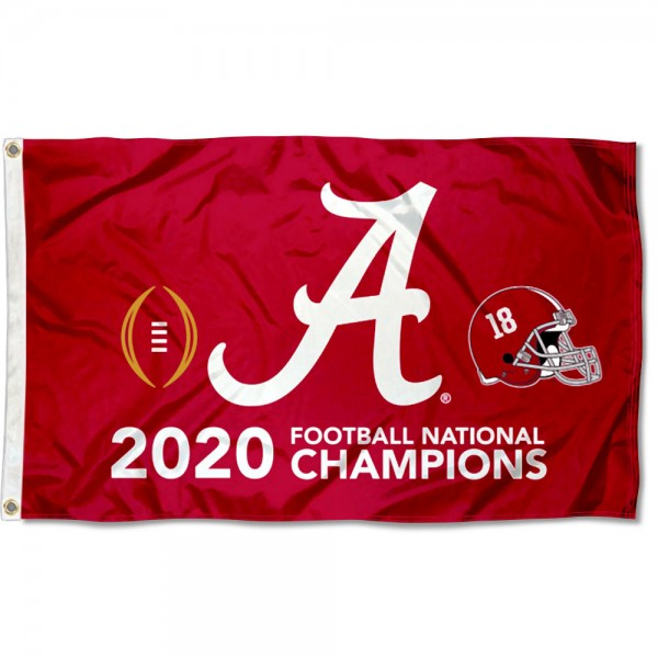 Alabama Crimson Tide 2020 College Football National Champions Flag measures 3x5 feet, is made of 100% polyester, offers quadruple stitched flyends, has two metal grommets, and offers screen printed NCAA team logos and insignias. Our Alabama Crimson Tide 2020 College Football National Champions Flag is officially licensed by the selected university and NCAA.