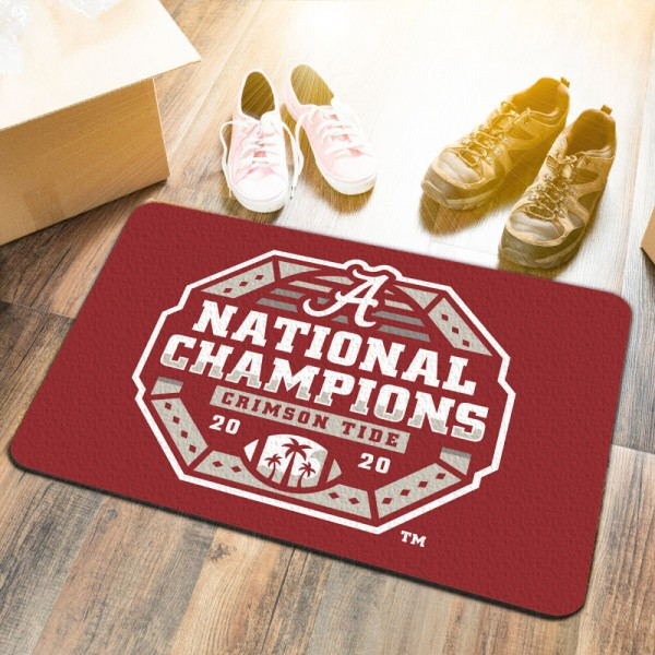 Alabama Crimson Tide 2020 College Football National Champions Doormat measures 17x26 inches rectangular, is made of polyester felt blends, has a durable non-slip rubber backing, and is UV, mildew, and stain resistant. Each college doormat includes Officially Licensed Logos and Insignias.