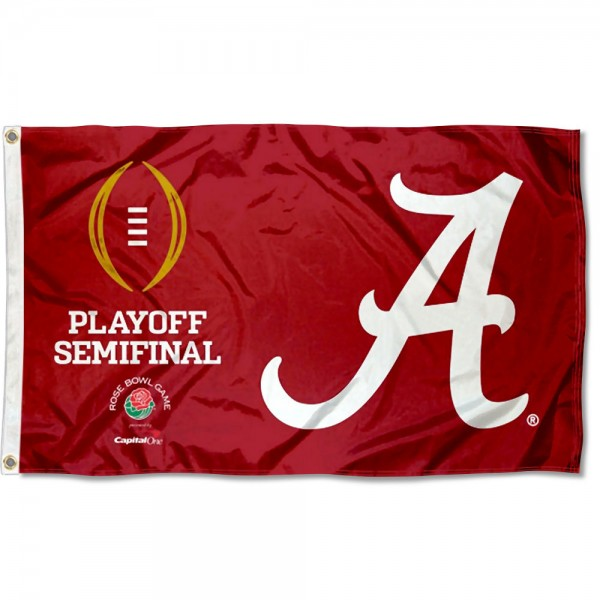Alabama Crimson Tide 2020 College Football Playoff Flag measures 3x5 feet, is made of 100% polyester, offers quadruple stitched flyends, has two metal grommets, and offers screen printed NCAA team logos and insignias. Our Alabama Crimson Tide 2020 College Football Playoff Flag is officially licensed by the selected university and NCAA.