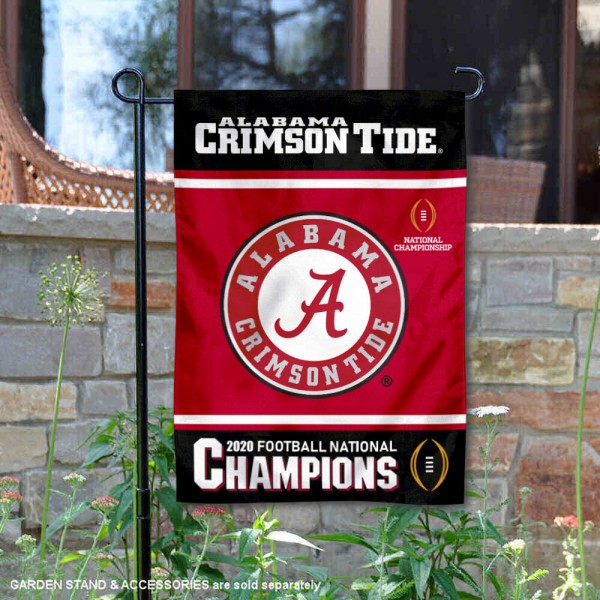 Alabama Crimson Tide 2020 Football CFP National Champions Garden Flag is 13x18 inches in size, is made of 2-layer polyester, screen printed university athletic logos and lettering, and is readable and viewable correctly on both sides. Available same day shipping, our Alabama Crimson Tide 2020 Football CFP National Champions Garden Flag is officially licensed and approved by the university and the NCAA.