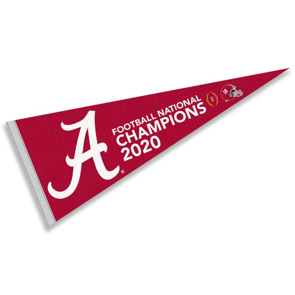 Alabama Crimson Tide 2020 National Football Champions Pennant is 12x30 inches, is made of wool and felt, has a pennant stick sleeve, and the Alabama Crimson Tide logos are single sided screen printed. Our Alabama Crimson Tide 2020 National Football Champions Pennant is licensed by the NCAA and the university.