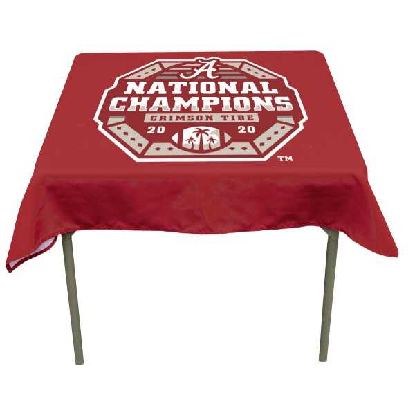 Alabama Crimson Tide 2020 National Football Championship Table Cloth measures 48 x 48 inches, is made of 100% Polyester, seamless one-piece construction, and is perfect for any tailgating table, card table, or wedding table overlay. Each includes Officially Licensed Logos and Insignias.
