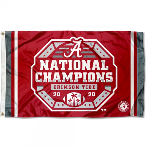 Alabama Crimson Tide 2020 Official Football National Champions Logo Flag measures 3x5 feet, is made of 100% polyester, offers quadruple stitched flyends, has two metal grommets, and offers screen printed NCAA team logos and insignias. Our Alabama Crimson Tide 2020 Official Football National Champions Logo Flag is officially licensed by the selected university and NCAA.