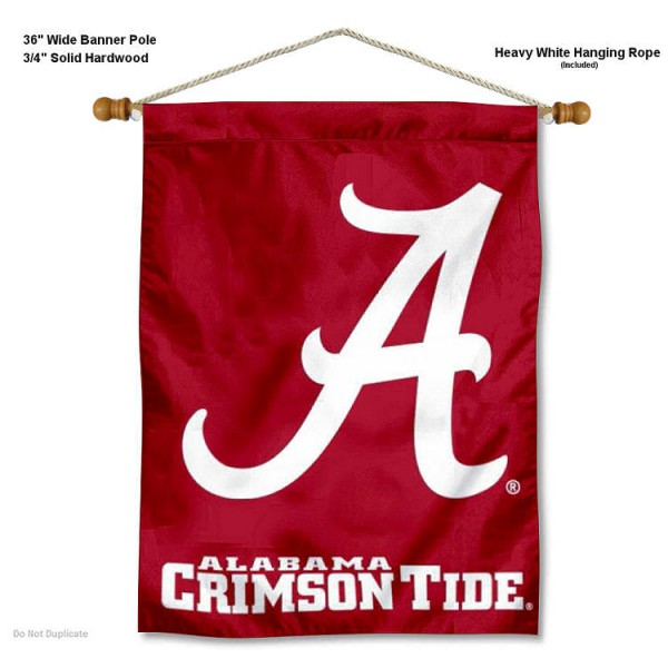 "Alabama Crimson Tide A Logo Wall Banner is constructed of polyester material, measures a large 30""x40"", offers screen printed athletic logos, and includes a sturdy 3/4"" diameter and 36"" wide banner pole and hanging cord. Our Alabama Crimson Tide A Logo Wall Banner is Officially Licensed by the selected college and NCAA."
