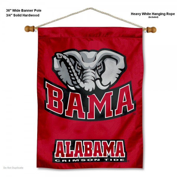 "Alabama Crimson Tide BAMA Wall Banner is constructed of polyester material, measures a large 30""x40"", offers screen printed athletic logos, and includes a sturdy 3/4"" diameter and 36"" wide banner pole and hanging cord. Our Alabama Crimson Tide BAMA Wall Banner is Officially Licensed by the selected college and NCAA."