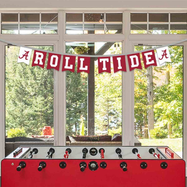 Alabama Crimson Tide Small Banner String Pennant Flags are 8 feet in total length, are made of thick felt polyester, includes 4x6 inch banner streamers, and the logos are screen printed one one side. Each is Offically Licensed.