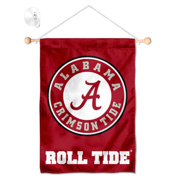 "Alabama Crimson Tide Banner with Suction Cup kit includes our 13""x18"" garden banner which is made of 2 ply poly with liner and has screen printed licensed logos. Also, a 17"" wide banner pole with suction cup is included so your Alabama Crimson Tide Banner with Suction Cup is ready to be displayed with no tools needed for setup. Fast Overnight Shipping is offered and the flag is Officially Licensed and Approved by the selected team."