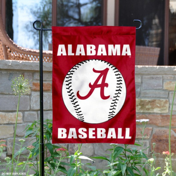 Alabama Crimson Tide Baseball Garden Flag is 13x18 inches in size, is made of 2-layer polyester, screen printed Alabama Crimson Tide Baseball athletic logos and lettering. Available with Same Day Express Shipping, Our Garden Flags are officially licensed and approved by Alabama Crimson Tide Baseball and the NCAA.