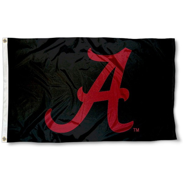 Alabama Crimson Tide Blackout Flag measures 3'x5', is made of 100% poly, has quadruple stitched sewing, two metal grommets, and has double sided Team University logos. Our Crimson Tide Blackout 3x5 Flag is officially licensed by the selected university and the NCAA.