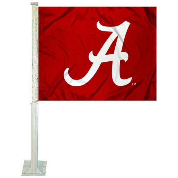 Alabama Crimson Tide Car Window Flag measures 12x15 inches, is constructed of sturdy 2 ply polyester, and has screen printed school logos which are readable and viewable correctly on both sides. Alabama Crimson Tide Car Window Flag is officially licensed by the NCAA and selected university.