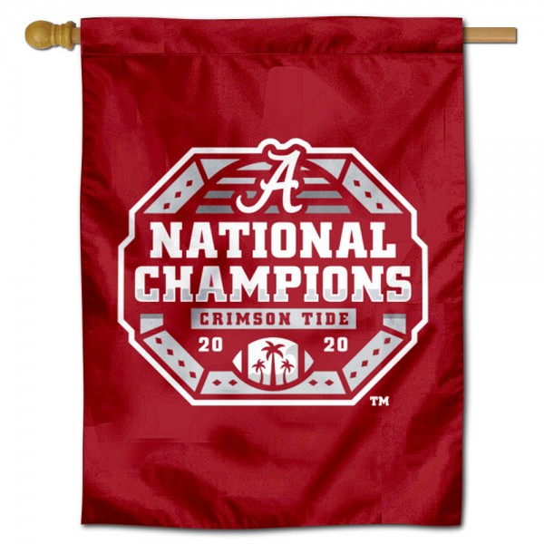 Alabama Crimson Tide CFP National Champions Double Sided House Flag is a vertical house flag which measures 30x40 inches, is made of 2 ply 100% polyester, offers screen printed NCAA team insignias, and has a top pole sleeve to hang vertically. Our Alabama Crimson Tide CFP National Champions Double Sided House Flag is officially licensed by the selected university and the NCAA.