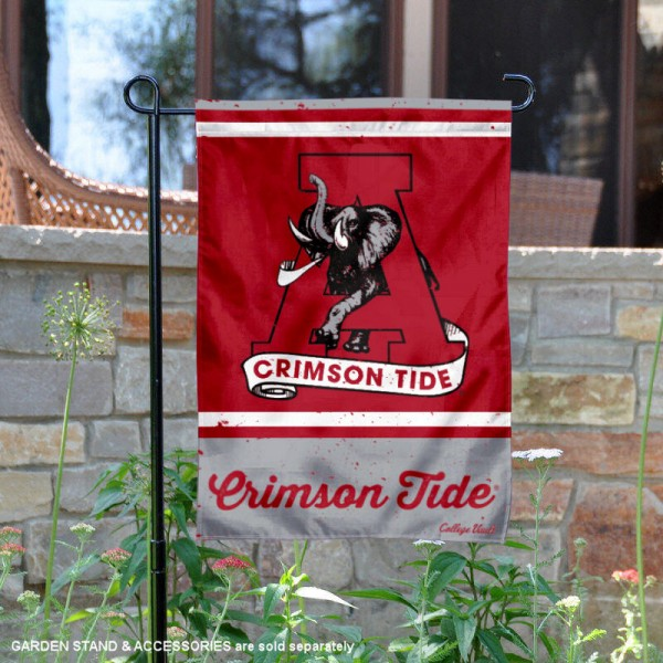 Alabama Crimson Tide College Vault Logo Garden Flag is 12.5x18 inches in size, is made of 2-layer polyester, screen printed university athletic logos and lettering, and is readable and viewable correctly on both sides. Available same day shipping, our Alabama Crimson Tide College Vault Logo Garden Flag is officially licensed and approved by the university and the NCAA.
