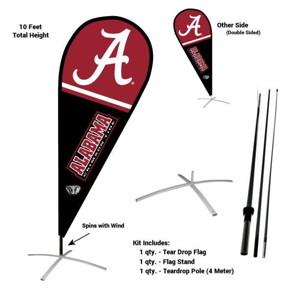 Alabama Crimson Tide Feather Flag Kit measures a tall 10' when fully assembled. The kit includes a Feather Flag, 3 Piece Fiberglass Pole, and matching Metal Feather Flag Stand. Our Alabama Crimson Tide Feather Flag Kit easily assembles and is NCAA Officially Licensed by the selected school or university.