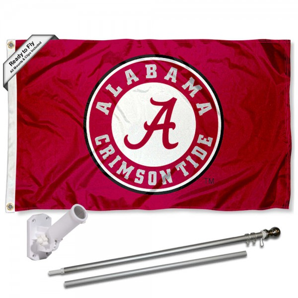 Our Alabama Crimson Tide Flag Pole and Bracket Kit includes the flag as shown and the recommended flagpole and flag bracket. The flag is made of polyester, has quad-stitched flyends, and the NCAA Licensed team logos are double sided screen printed. The flagpole and bracket are made of rust proof aluminum and includes all hardware so this kit is ready to install and fly.