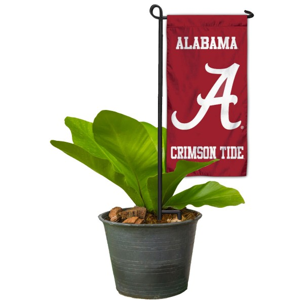 "Alabama Crimson Tide Flower Pot Topper Flag kit includes our 4""x8"" mini garden banner and 6"" x 14"" mini garden banner stand. The mini flag is made of 1-ply polyester, has screen printed logos and the garden stand is made of steel and powder coated black. This kit is NCAA Officially Licensed by the selected college or university."