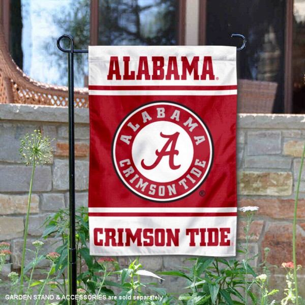 Alabama Crimson Tide Garden Flag is 13x18 inches in size, is made of 2-layer polyester, screen printed logos and lettering. Available with Same Day Express Shipping, Our Alabama Crimson Tide Garden Flag is officially licensed and approved by the NCAA.