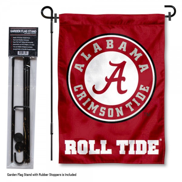"Alabama Crimson Tide Garden Flag and Stand kit includes our 13""x18"" garden banner which is made of 2 ply poly with liner and has screen printed licensed logos. Also, a 40""x17"" inch garden flag stand is included so your Alabama Crimson Tide Garden Flag and Stand is ready to be displayed with no tools needed for setup. Fast Overnight Shipping is offered and the flag is Officially Licensed and Approved by the selected team."