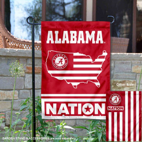 Alabama Crimson Tide Garden Flag with USA Country Stars and Stripes is 13x18 inches in size, is made of 2-layer polyester, screen printed logos and lettering. Available with Same Day Express Shipping, Our Nation Yard Flag is officially licensed and approved by the NCAA.