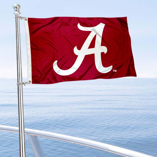Alabama Crimson Tide Golf Cart Flag is a small 12x18 inches, made of 2-ply polyester with quad stitched flyends, and is double-sided. Our Golf Cart Logo Flags are Officially Licensed and Approved by University of Alabama and NCAA.