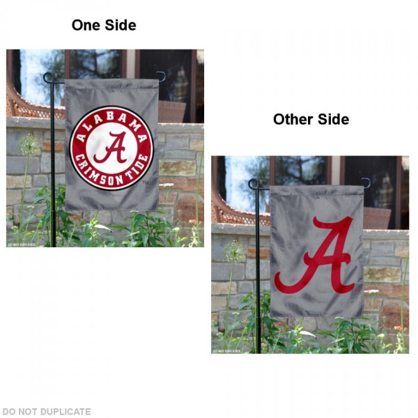 Alabama Crimson Tide Gray Garden Flag is 13x18 inches in size, is made of 2-layer polyester, screen printed University of Alabama athletic logos and lettering. Available with Same Day Express Shipping, Our Alabama Crimson Tide Gray Garden Flag is officially licensed and approved by University of Alabama and the NCAA.