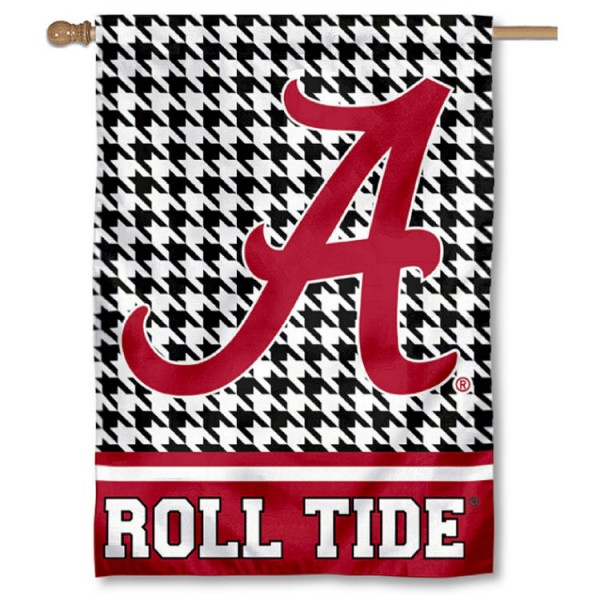 Alabama Crimson Tide Houndstooth Double Sided House Flag is a vertical house flag which measures 28x40 inches, is made of 2 ply 100% polyester, offers screen printed NCAA team insignias, and has a top pole sleeve to hang vertically. Our Alabama Crimson Tide Houndstooth Double Sided House Flag is officially licensed by the selected university and the NCAA.