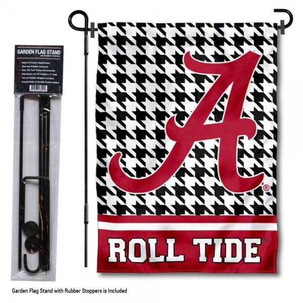 "Alabama Crimson Tide Houndstooth Garden Flag and Flagpole kit includes our 12.5""x18"" garden banner which is made of 2 ply poly with liner and has screen printed licensed logos. Also, a 40""x17"" inch garden flag stand is included so your Alabama Crimson Tide Houndstooth Garden Flag and Flagpole is ready to be displayed with no tools needed for setup. Fast Overnight Shipping is offered and the flag is Officially Licensed and Approved by the selected team."