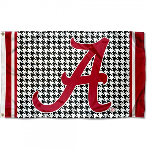 Alabama Crimson Tide Houndstooth Logo Flag measures 3'x5', is made of 100% poly, has quadruple stitched sewing, two metal grommets, and has double sided Team University logos. Our Alabama Crimson Tide Houndstooth Logo Flag is officially licensed by the selected university and the NCAA.