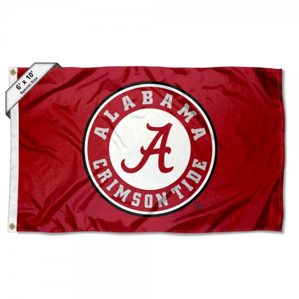 Alabama Crimson Tide Large 6'x10' Flag measures 6x10 feet, is made of thick poly, has quadruple-stitched fly ends, and Alabama Crimson Tide logos are screen printed into the Alabama Crimson Tide Large 6'x10' Flag. This Alabama Crimson Tide Large 6'x10' Flag is officially licensed by and the NCAA.