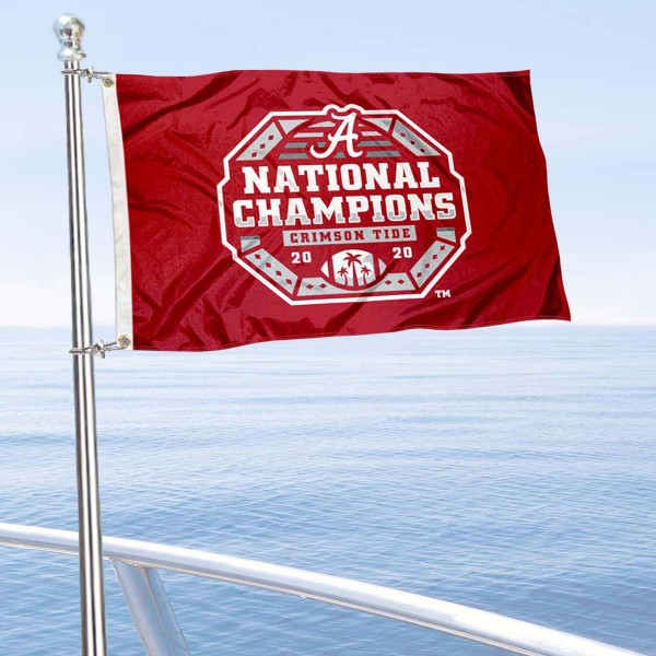 Alabama Crimson Tide National Champions Boat and Mini Flag is 12x18 inches, polyester, offers quadruple stitched flyends for durability, has two metal grommets, and is double sided. Our mini flags for Alabama Crimson Tide are licensed by the university and NCAA and can be used as a boat flag, motorcycle flag, golf cart flag, or ATV flag.