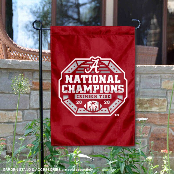 Alabama Crimson Tide National Champs Official Logo Double Sided Garden Flag is 13x18 inches in size, is made of 2-layer polyester, screen printed university athletic logos and lettering, and is readable and viewable correctly on both sides. Available same day shipping, our Alabama Crimson Tide National Champs Official Logo Double Sided Garden Flag is officially licensed and approved by the university and the NCAA.