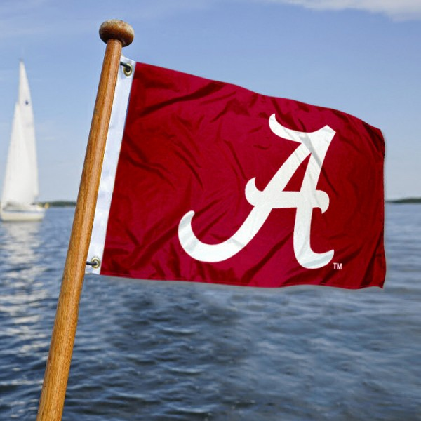 Alabama Crimson Tide Nautical Flag measures 12x18 inches, is made of two-ply polyesters, offers quadruple stitched flyends for durability, has two metal grommets, and is viewable from both sides. Our Alabama Crimson Tide Nautical Flag is officially licensed by the selected university and the NCAA and can be used as a motorcycle flag, golf cart flag, or ATV flag
